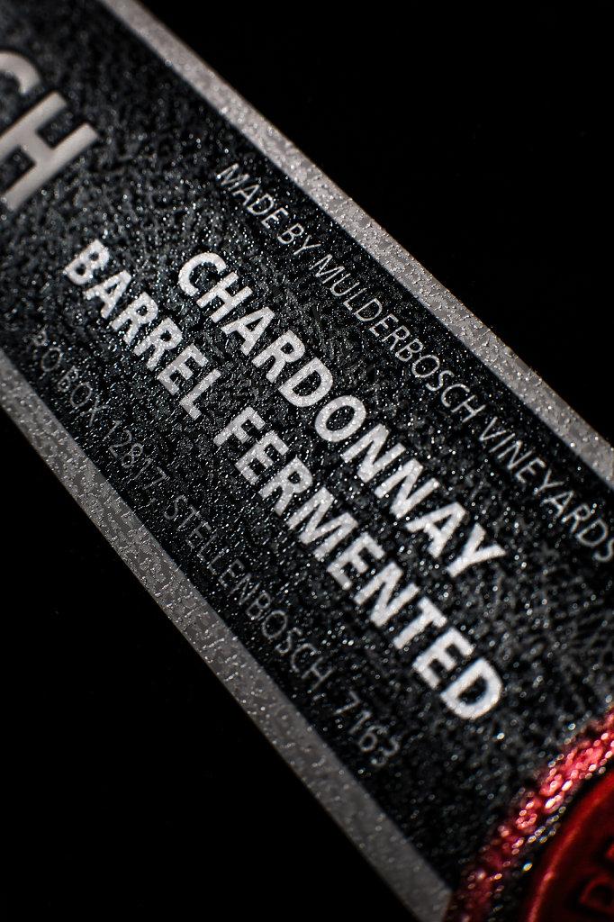 Mulderbosch - Barrel Fermented Chardonnay; Vertical Vintage Box Set Textured Label Detail
